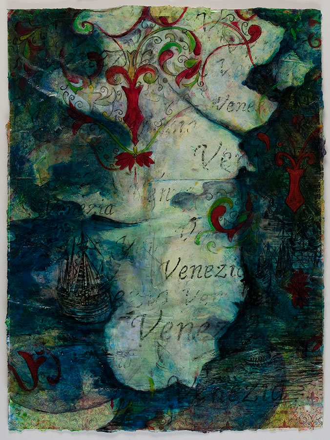 "Venice Collage #1, mixed media on paper, 20"" x 16"", $2600"