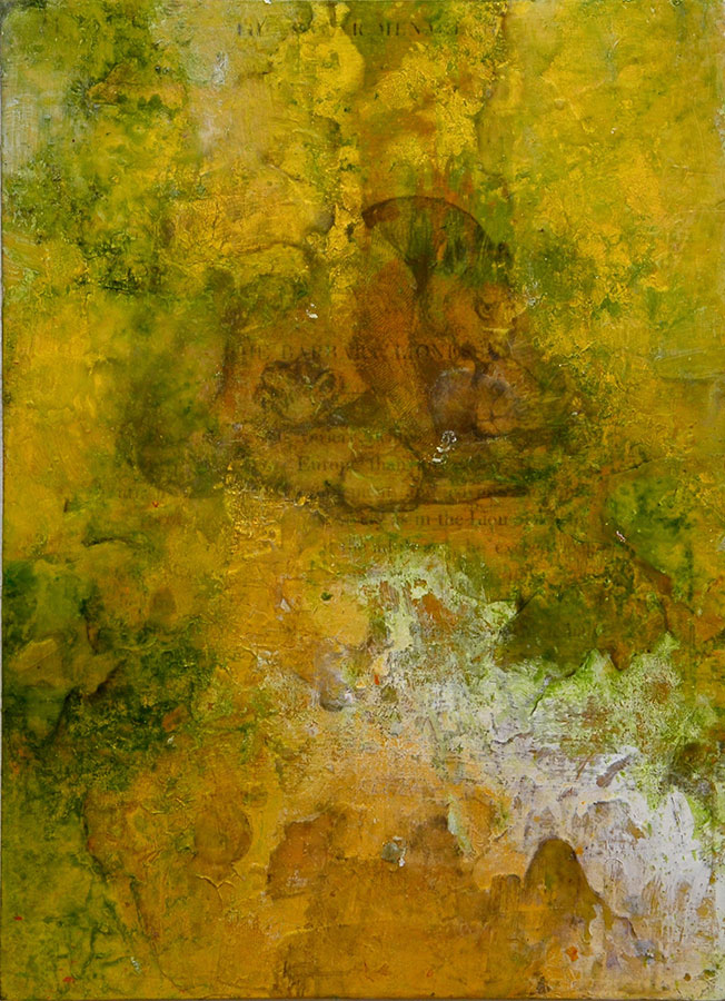 "A Tower's Lion, mixed media on birch panel, 30"" x 22"", (sold)"