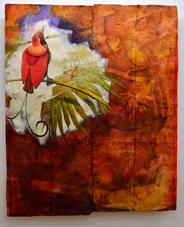 "Bird of Paradise, mixed media on Khadi paper, 63"" x 54"", $6000"
