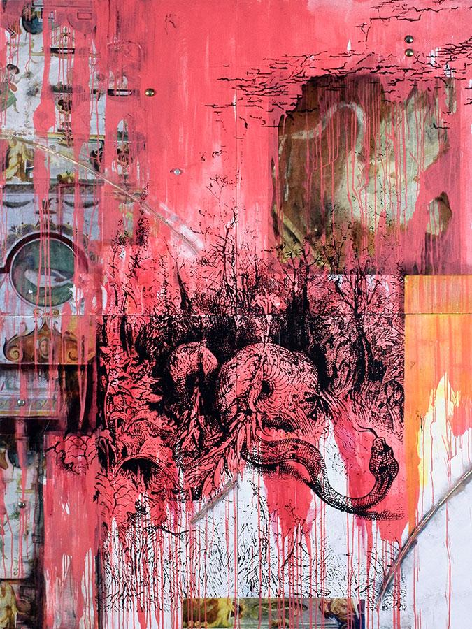 Angus en Herba, mixed media on birch panel, 8' x 6', $9000
