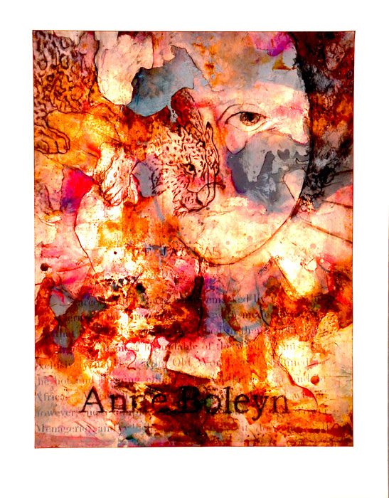 "Jaguar – Anne Boleyn, mixed media on Khadi paper,  54"" x 44"", (sold)"