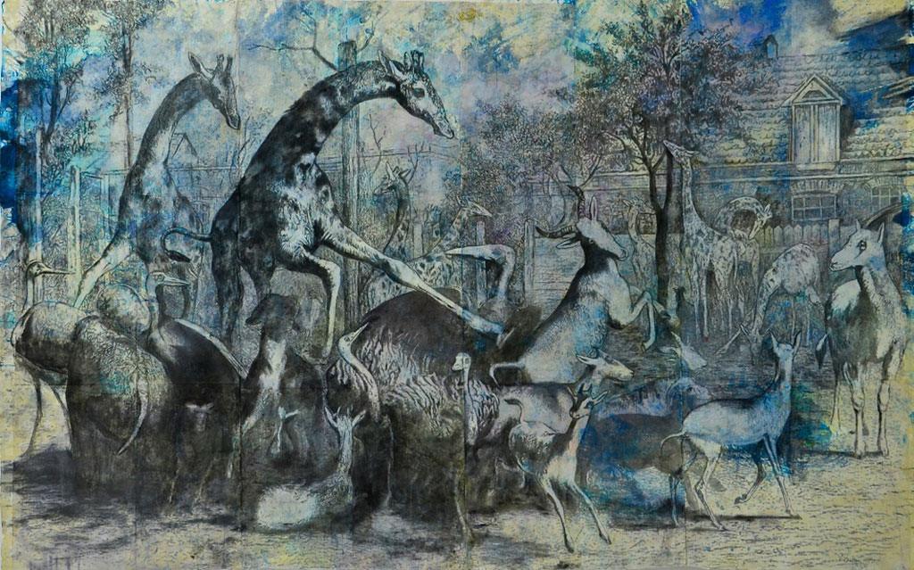 "A Zoological Airing, mixed media on Khadi paper, 63"" x 120"", $9000"