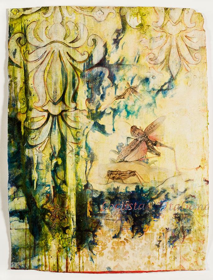 "Locusta, mixed media on Indian paper, 47 x 34"", (sold)"