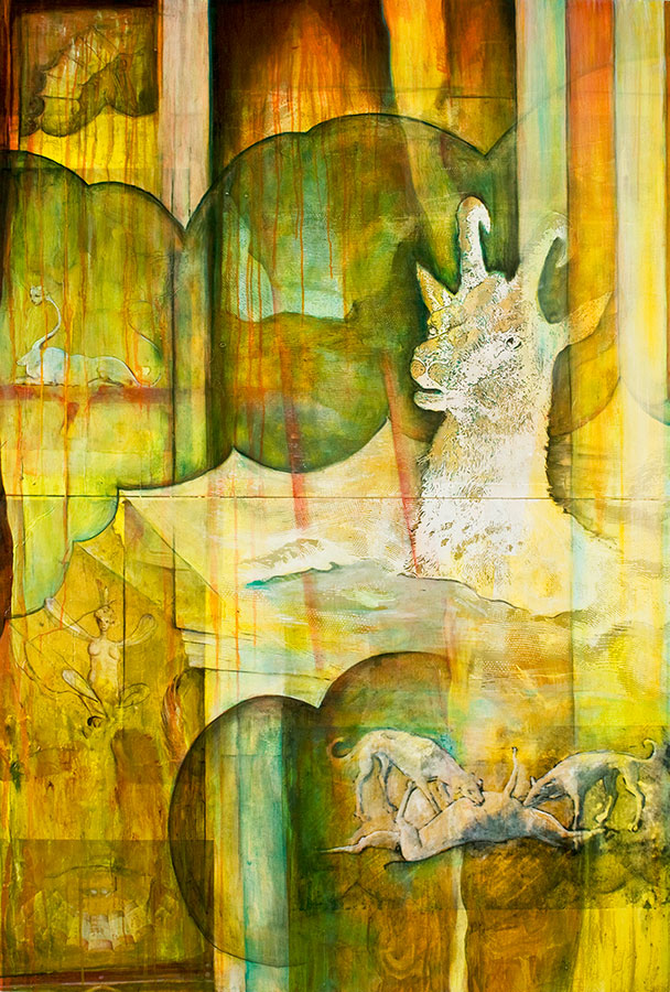 Luna Italiana, mixed media on birch panel, 6' x 4', $5500