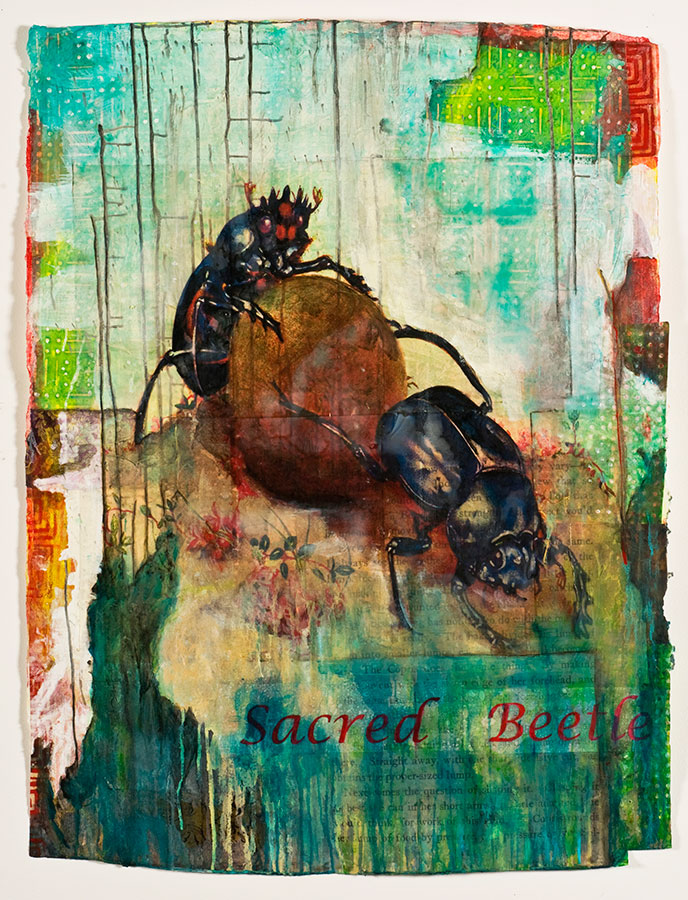 "Sacred Beetle, mixed media on Indian paper, 47 x 34"", $4500"