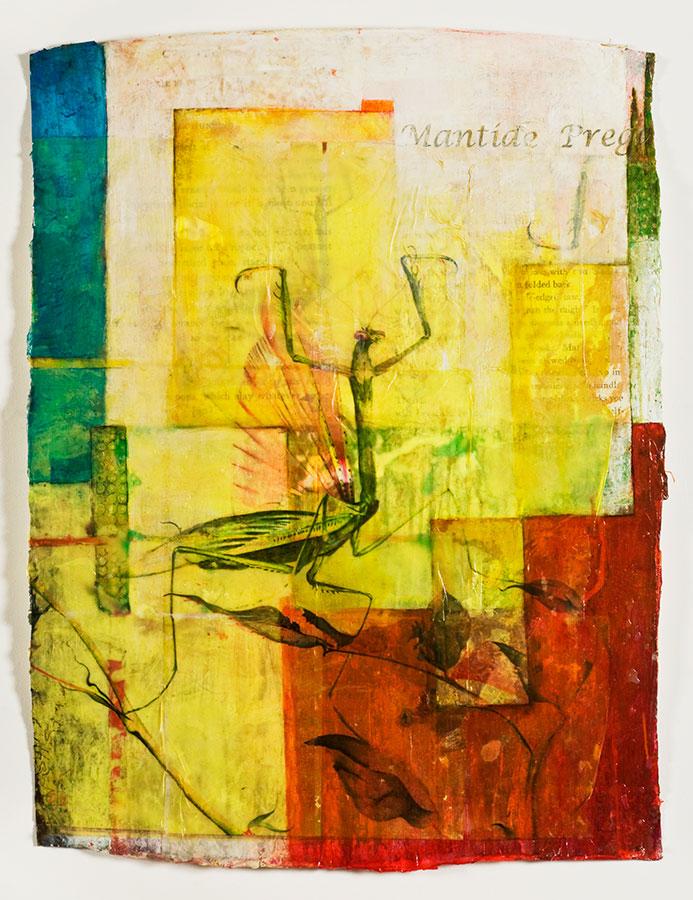 "Mantide Preganta, mixed media on Indian paper, 47 x 34"", (sold)"
