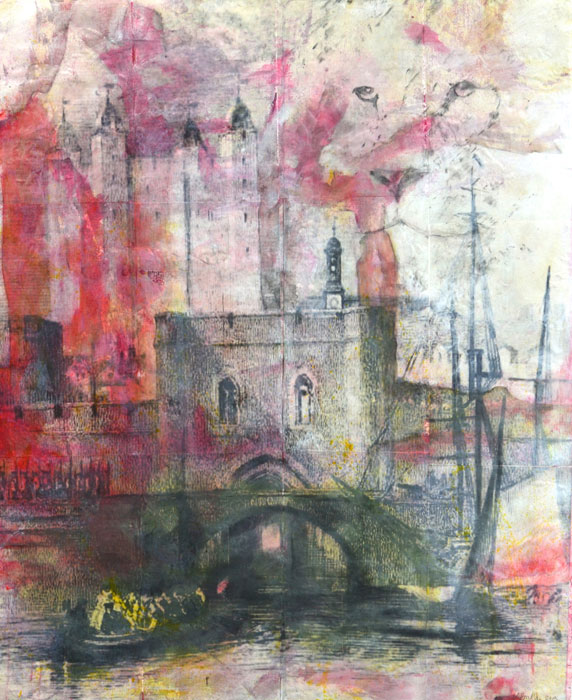 "Traitor's Gate, mixed media on Khadi paper, 63"" x 54"", $6000"