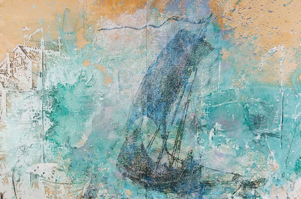 Return, mixed media on birch panel, 4' x 6', (sold)