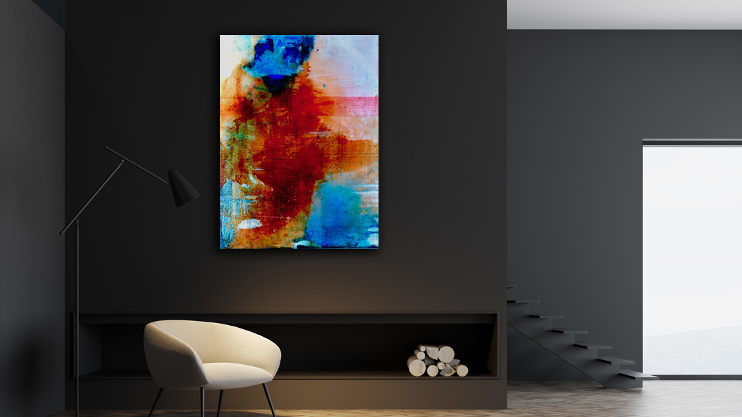 Long Pond #2 abstract painting by Virginia Bradley shown in dark wall interior