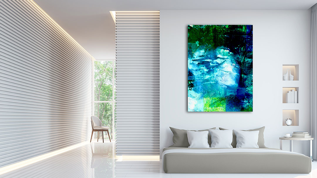Long Pond #3 abstract oil painting by Virginia Bradley shown in interior