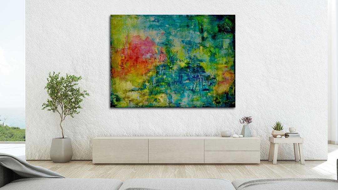 Long Pond #7 painting by Virginia Bradley in interior room
