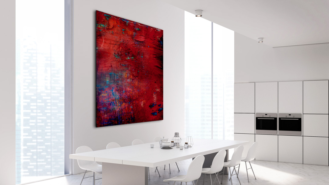 Long Pond #8 painting shown in white kitchen interior
