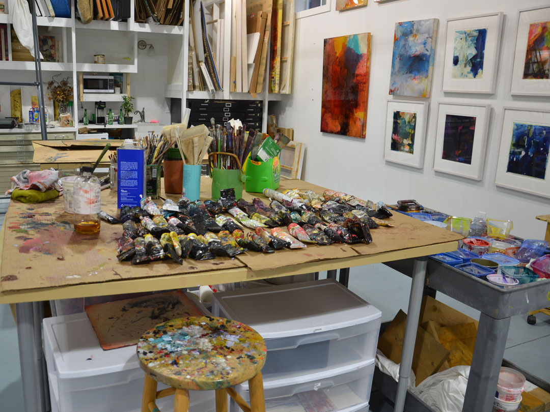 Virginia Bradley studio interior working area