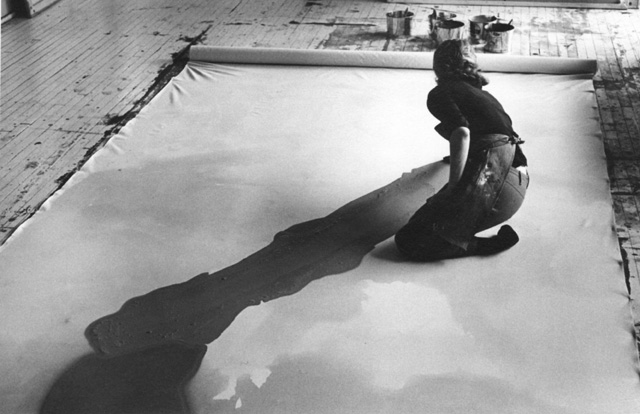 Helen Frankenthaler at work in her studio, 1969, photographed by Ernest Haas