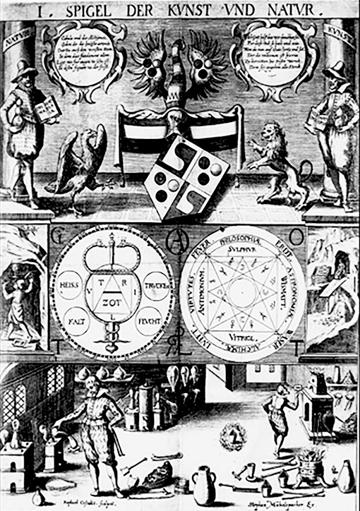 A 16th century engraving portraying the alchemist's process in the laboratory.