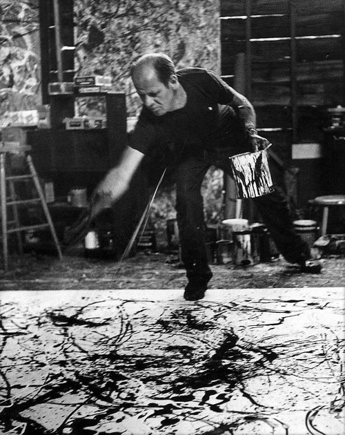 Jackson Pollack working in his studio, 1950, photo by Hans Namuth