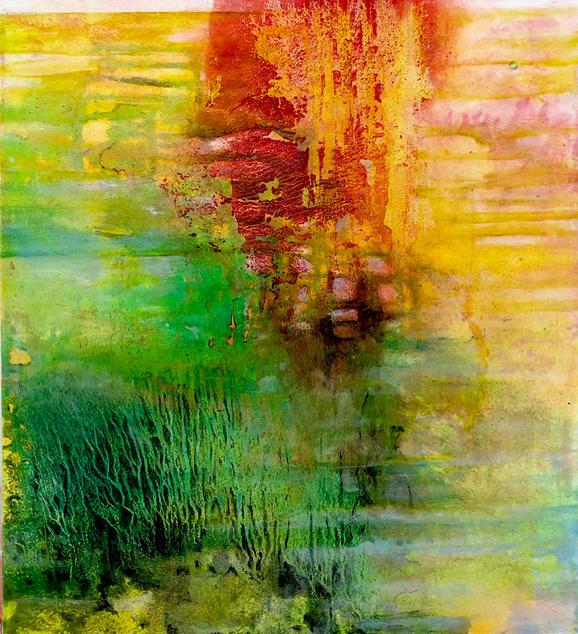 Landing 2 coral sea caribbean seascape semi abstract oil on canvas by Virginia Bradley
