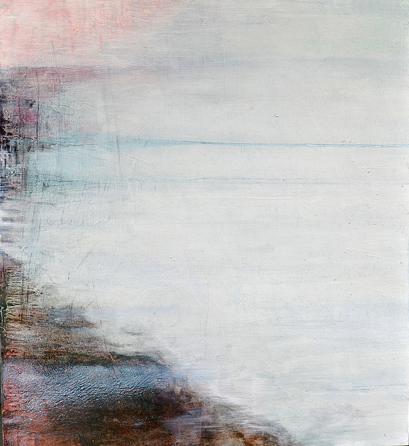 Landing 3 ice winter agnes martine miminimal water white oil by Virginia Bradley