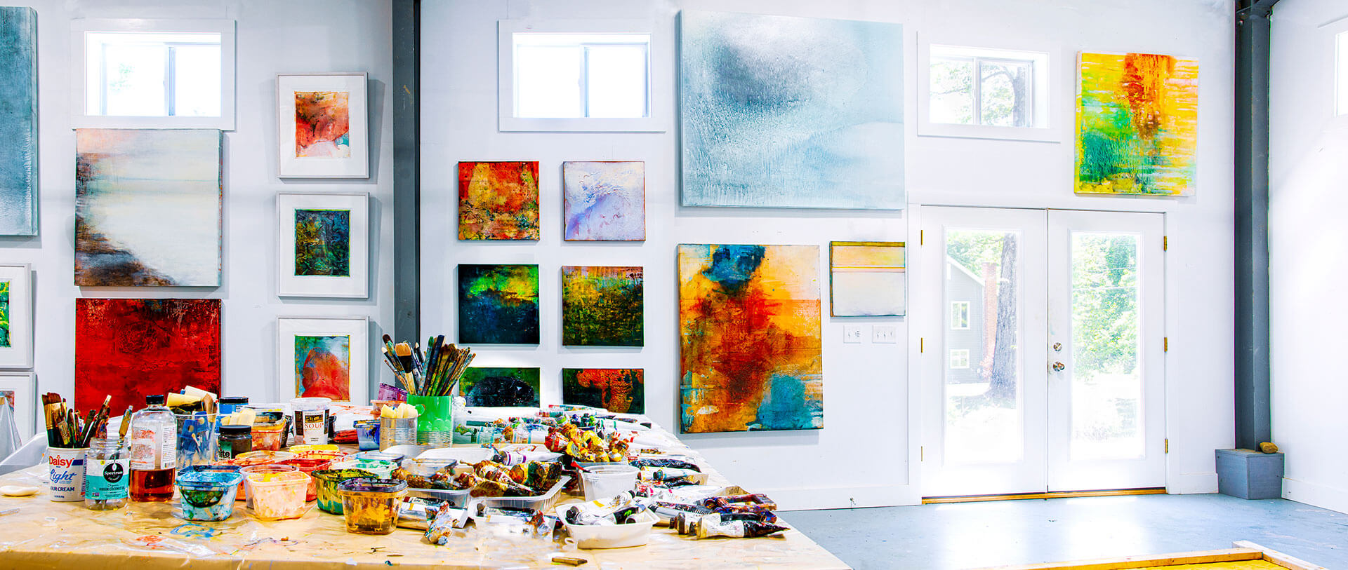 Artist studio open studio Berkshires Great Barrington Virginia Bradley abstract painting interiors
