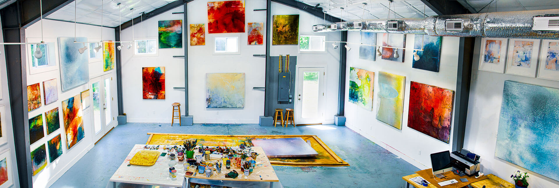 Contemporary painting art consultants open studio New England Bradley
