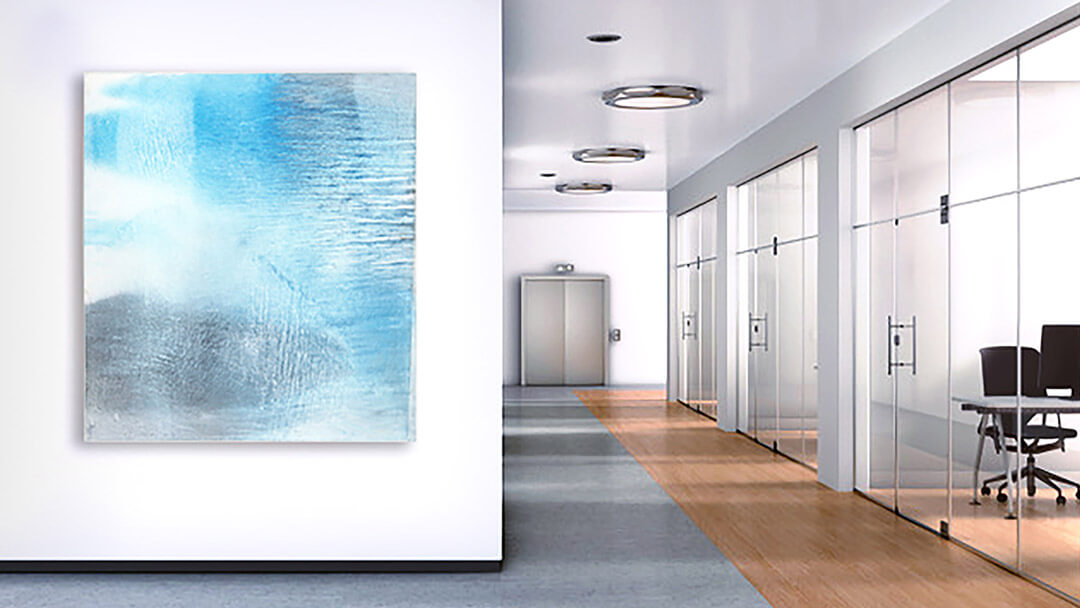 Yellowstone 12 geyser blue abstract oil paintings shown in a commercial office space