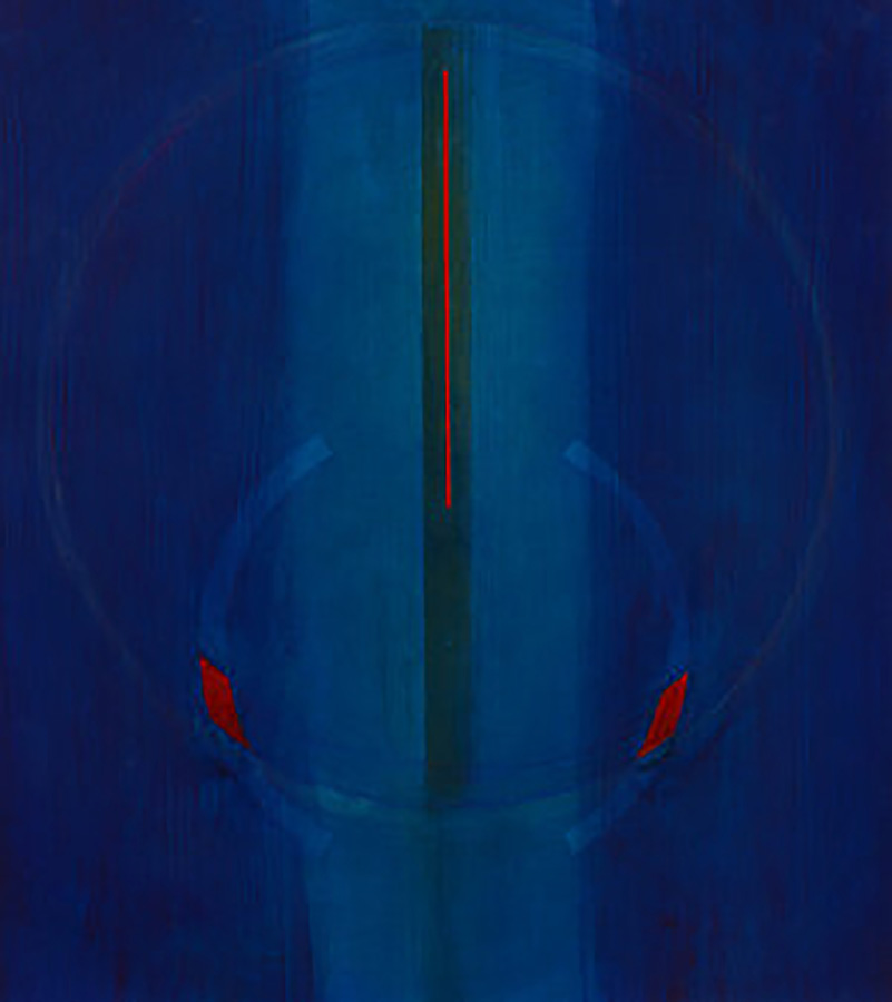 Red Blue Circle, abstract transparent painting by Chris Malcomson