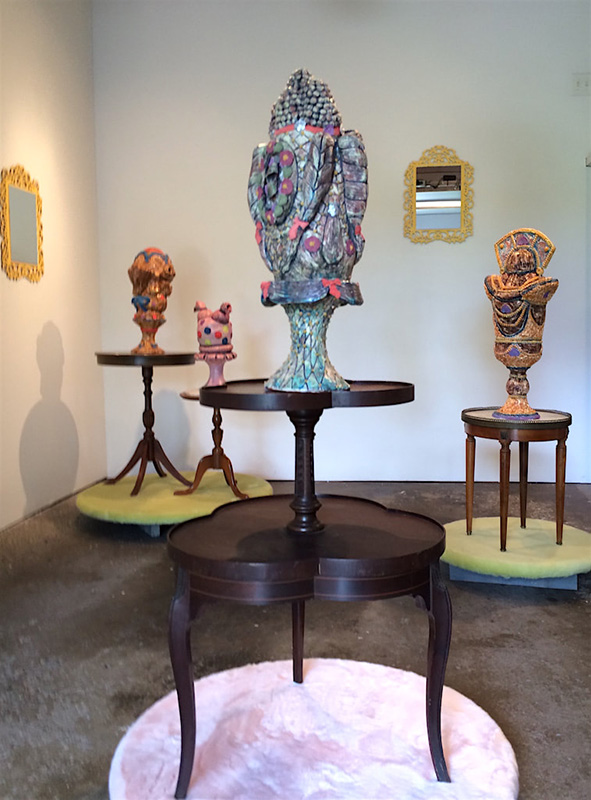 Clay sculptures by Lynn Wadsworth